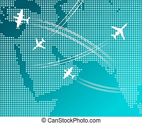 Airplanes flying with white flight tracks over map