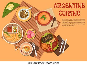 Argentine asado dishes with desserts flat icon - Argentine...