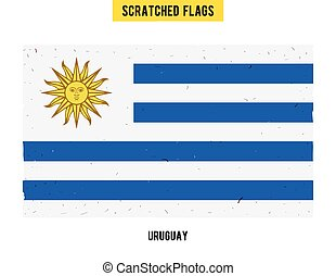 Uruguayan grunge flag with little scratches on surface A...
