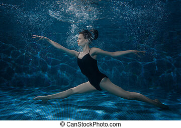 The woman dances at the bottom under water. - The woman...