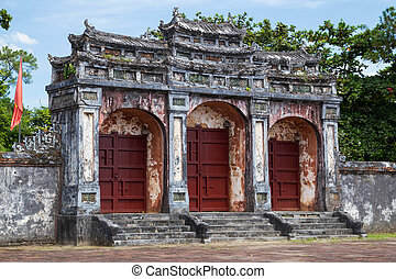 Gate to Imperial Minh Mang Tomb in Hue,  Vietnam