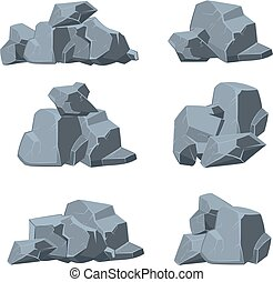 Cartoon stones vector set Stone rock, boulder stone, nature...