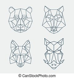 Low poly animals Bear and wolf, fox or wild boar heads - Low...