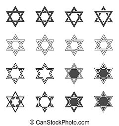 Star icon Solomon Seal icons Shield of David sign or Magen -...