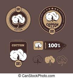 Retro cotton vector icons, labels