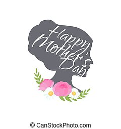 Vector illustraion greeting cart Happy Mothers Day lettering...