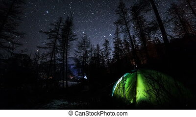 Camping Night Sky Timelapse in Forest. Includes campfire,...
