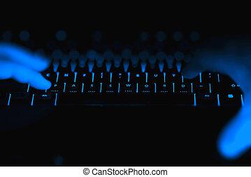 Hacker hands typing