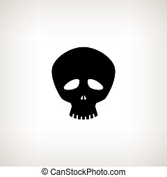 Funny Skull, Silhouette Skull on a Light Background ,...