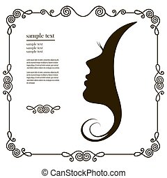 woman's profile - Woman chat vector logo design...