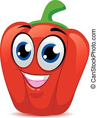 Red Bell Pepper Mascot - Vector Illustration of Red Bell...