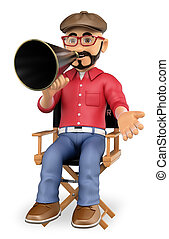 3D Film director sitting in his chair with a megaphone