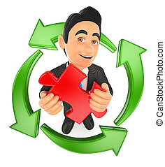 3D Businessman with a puzzle piece and green arrows around. Reusing ideas