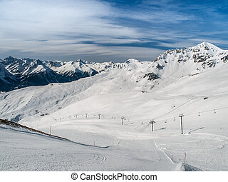 Alpine ski resort Scuol in Swiss Alps, Graubunden,...