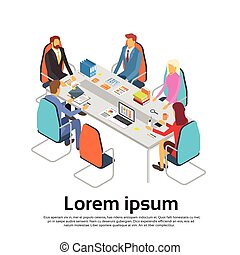 Business People Meeting Discussing Office Desk Businesspeople Working Copy Space 3d Isometric