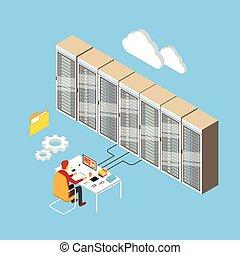 Man Working Data Center Technical Room Hosting Server...