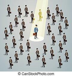 Businessman Spotlight Human Resource Recruitment Candidate,...