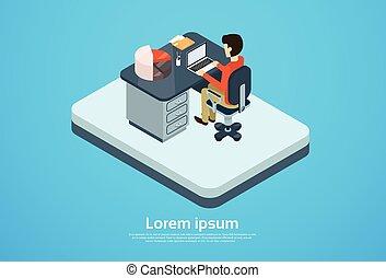 Business Man Work Computer Laptop Workspace Copy Space 3d...