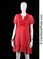 Red casual dress with v-neck. Summer dress on white...