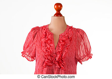 Red casual v-neck dress Red top on beige mannequin Womans...