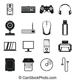 Computer icons set, simple style