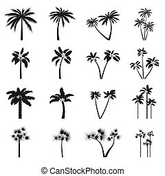 Palm tree icons set, simple style