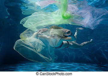 Girl dives into the tissue. - The girl floats under water...