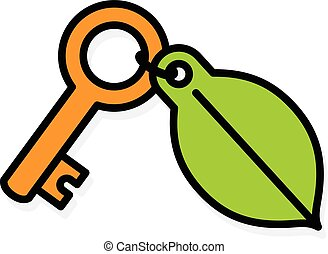 Brass key with a green environment leaf tag