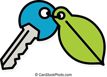 Door key with a green environment leaf tag