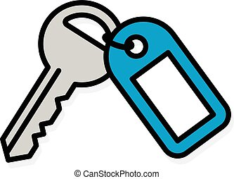 Front door key with a blue plastic tag