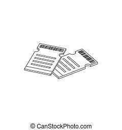 Two cinema tickets icon, isometric 3d style