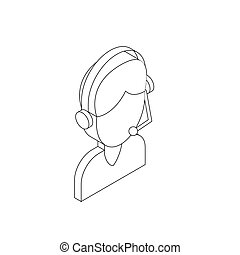 Male customer support operator with headset icon