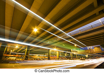 Highway at night with light trails in hong kong,china