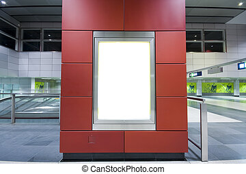 it is a advertisement blank in a modern building