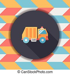 Transportation Garbage truck flat icon with long...