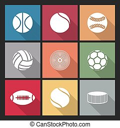 Icons balls, vector - Icons balls of various sports with a...