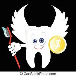 Tooth Fairy with a coin