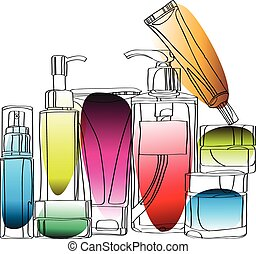 set of cosmetics for skin care - set of cosmetics vector...