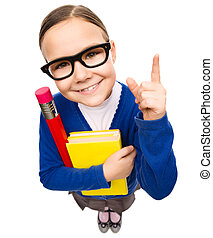 Portrait of a funny little girl - Funny little girl is...