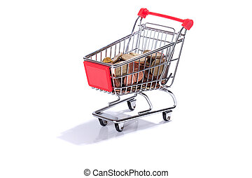 Miniature shopping cart with Euro coins, money, isolated on...