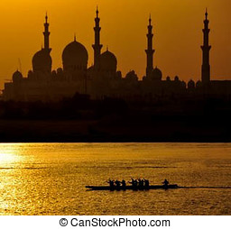 Sheikh Zayed Mosque - Dragon Boating in front of Sheikh...