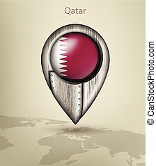 map marker steel with glare and shadows qatar - metal map...