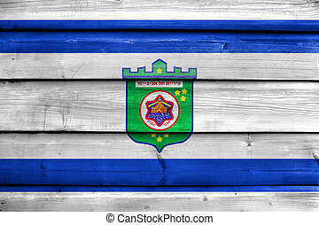 Flag of Tel Aviv, painted on old wood plank background