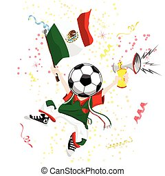 Mexico Soccer Fan with Ball Head