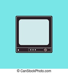 Vector flat illustration of an old TV set. Vector element for logos, infographics and your design