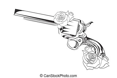 Vector vintage illustration of  revolver with roses.  Vector vintage element for tattoo design printed on a T-shirt, postcards and your creativity