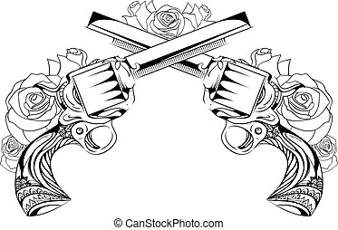 Vector vintage illustration of two revolvers with roses....