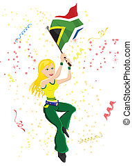 South Africa Soccer Fan with flag.