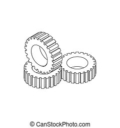 Tire pile icon, isometric 3d style - Tire pile icon in...