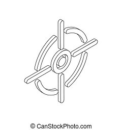 Crosshair reticle icon, isometric 3d style - Crosshair...